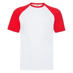 "Футболка ""Short Sleeve Baseball T"", белый с красным_2XL, 100% х/б, 160 г/м2"